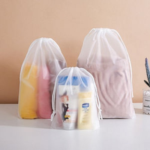 clear plastic drawstring bags