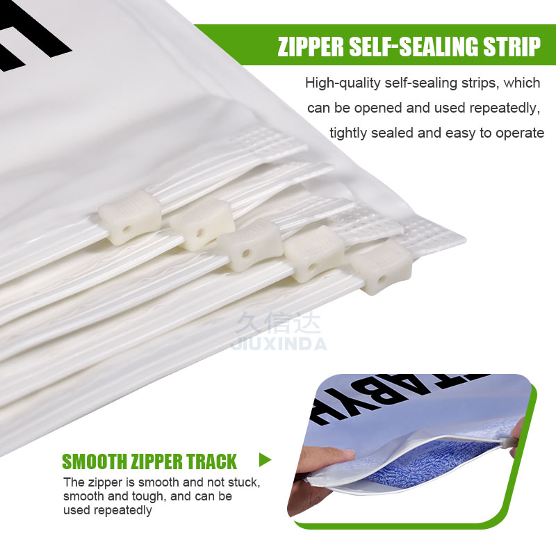 Frosted plastic zipper bag for clothing with logo